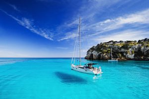 Beautiful bay with sailing boats, Menorca island, Spain