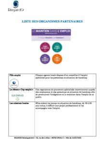 R9 Liste des organismes partenaires